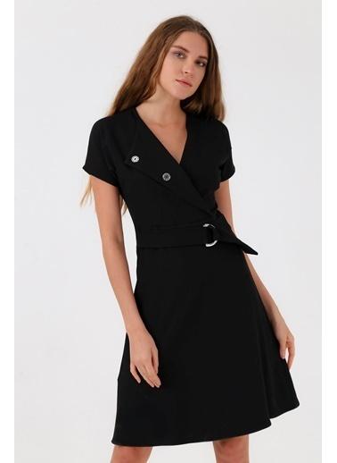 Jument Sentos Şal Yaka Düğmeli Kiloş Elbise Siyah